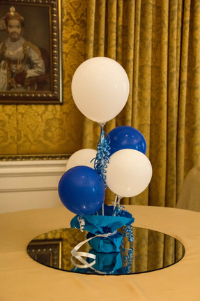 Balloons placed cutely at a childs birthday decor in Bangalore
