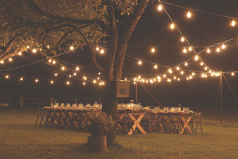 Open air wedding venue decorated with bulbs in Bangalore