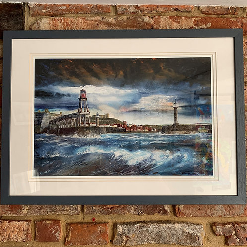 'BreakingWaves Whitby Pier' By David Hume