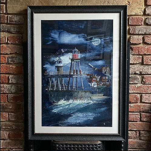 'Moonlight Over Whitby East Pier' By David Hume