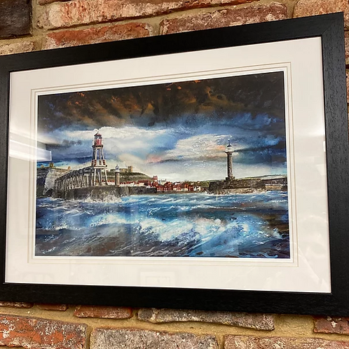 'Breaking Waves Whitby Pier' By David Hume
