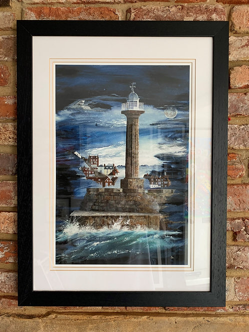 'Moonlight Over Whitby West Pier' By David Hume