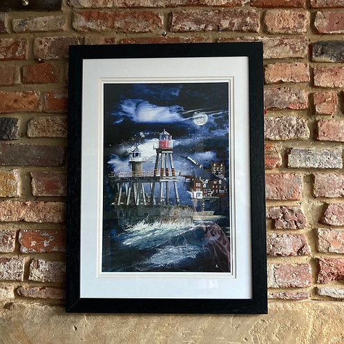 'Moonlight Over Whitby East Pier Lighthouse' By David Hume