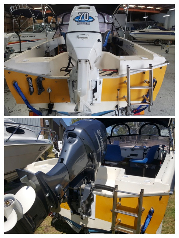 Brand new Yamaha F60LB with reinforced transom backboard and anti feedback steering.