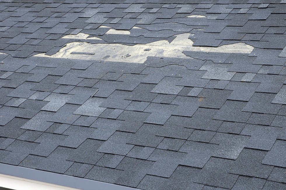 A close up view of shingles a roof damag