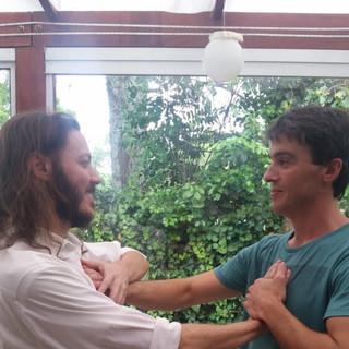 Sharing holy energy.