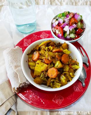 "Ethiopian Cabbage ""Stew"" or Tikil Gomen Recipe - Allergy-Friendly, Vegan, Gluten-Free, Soy"