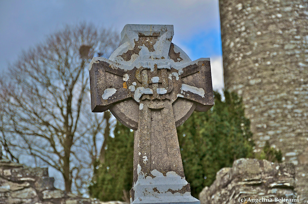 Celtic Cross at a Public Gravesite in Ireland