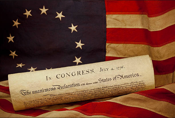 Thirteen Colonies Flag with Declaration of Independence