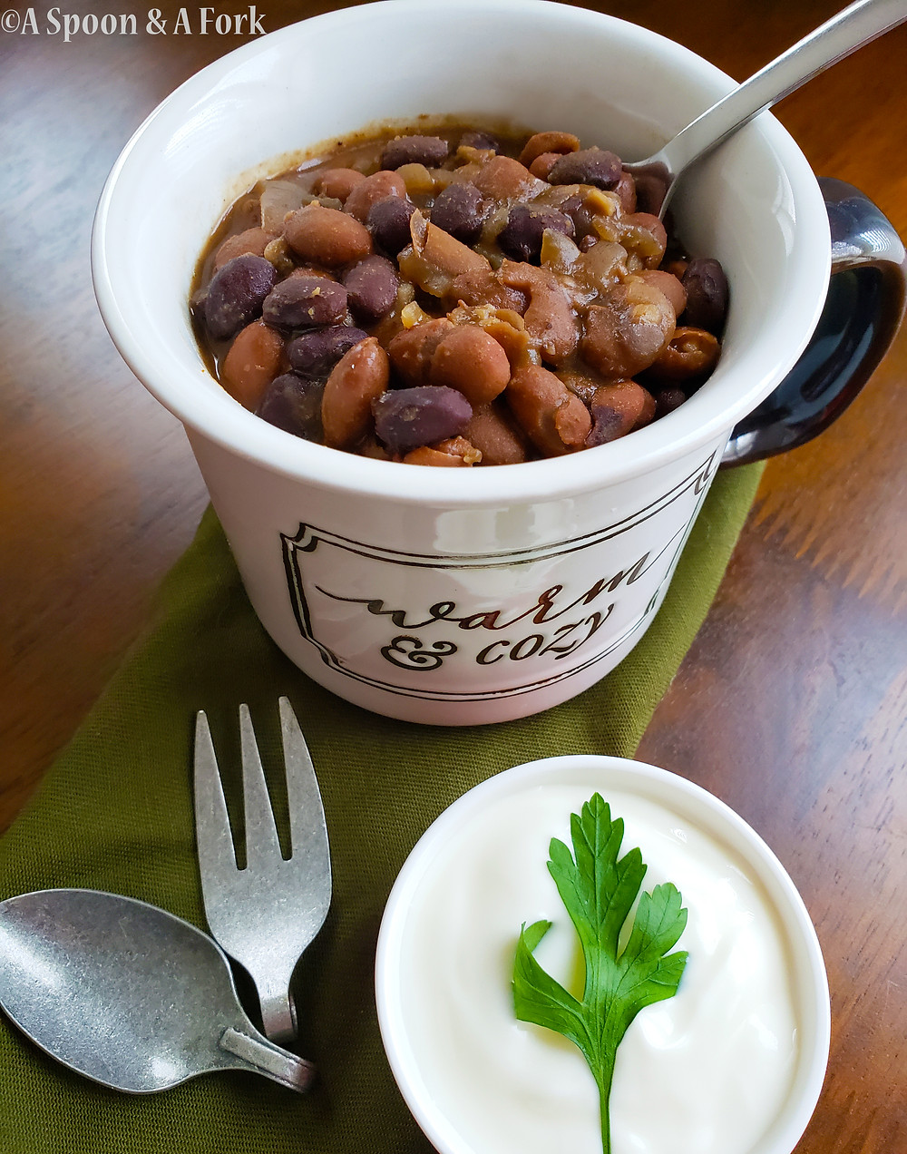 Slow Cooked Mexican-Style Beans with Sour Cream