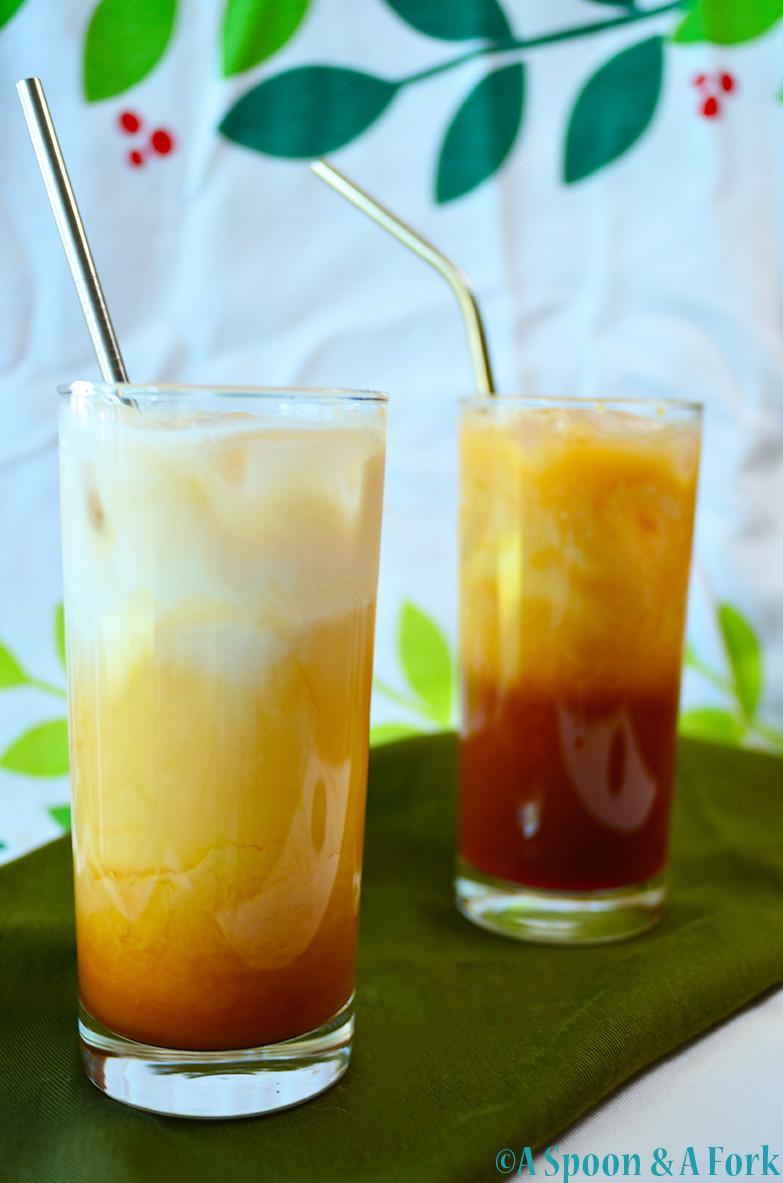Thai Spiced Iced Tea with straws