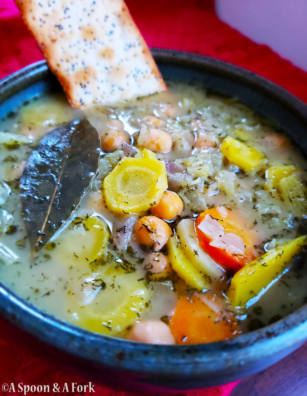 Homestyle Chickpea Soup with cracker
