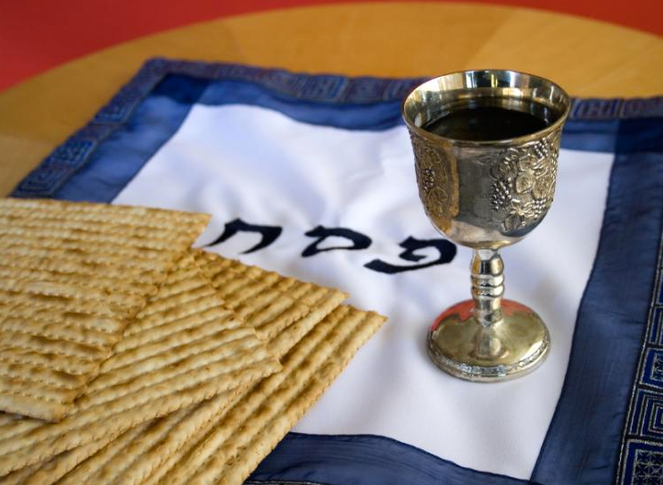 Matzo and Wine in a Kiddush Cup