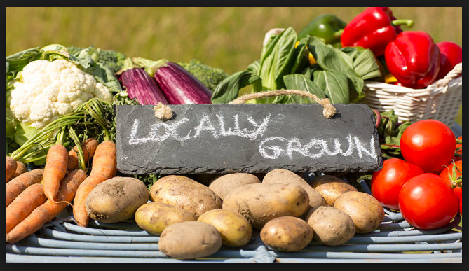 Locally Grown Chalkboard with Produce