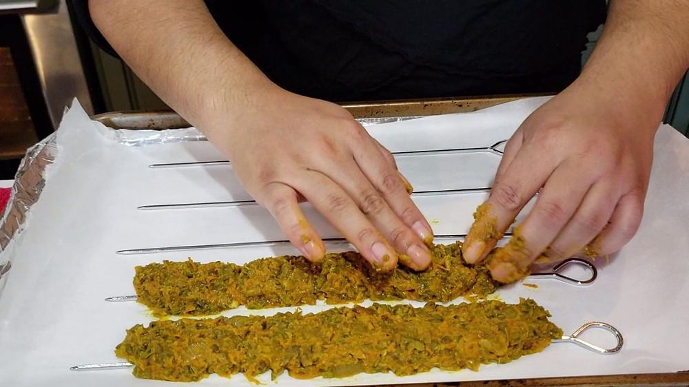 Molding Afghan Veggie Shawarma on Skewers