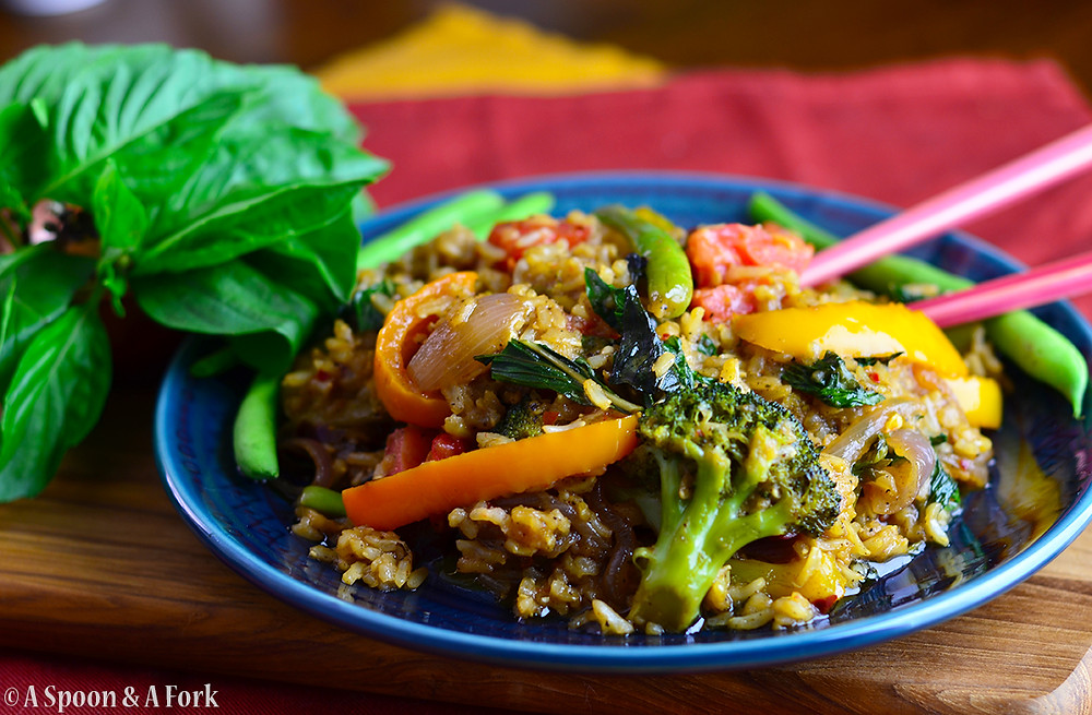 Allergy-Friendly Thai Basil Fried Rice up close