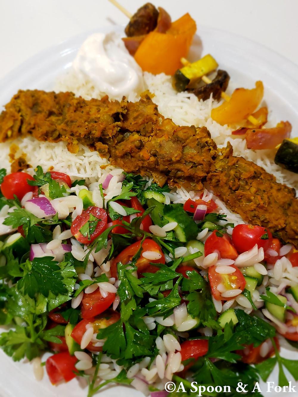 Afghan Veggie Shawarma with basmati, Veggie Kabob and Israeli Salad with Orzo