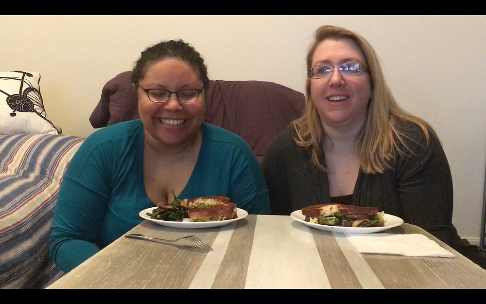 Joy and Maria enjoying Mushroom Avocado and Spinach Breakfast Sandwich