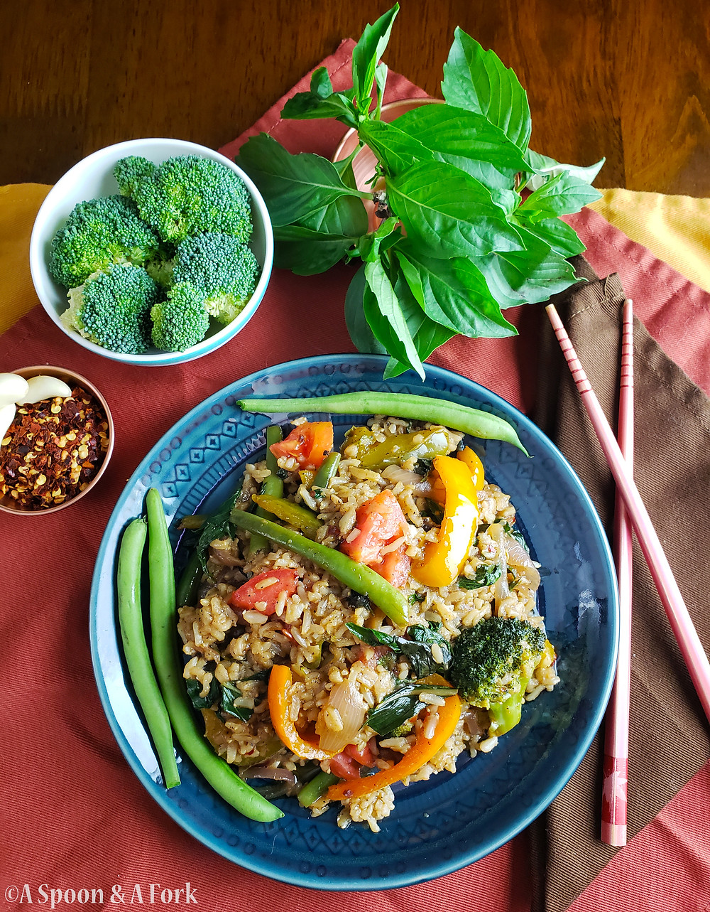 Allergy-Friendly Thai Basil Fried Rice full plate