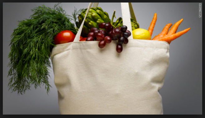 Reusable Grocery Tote with Produce