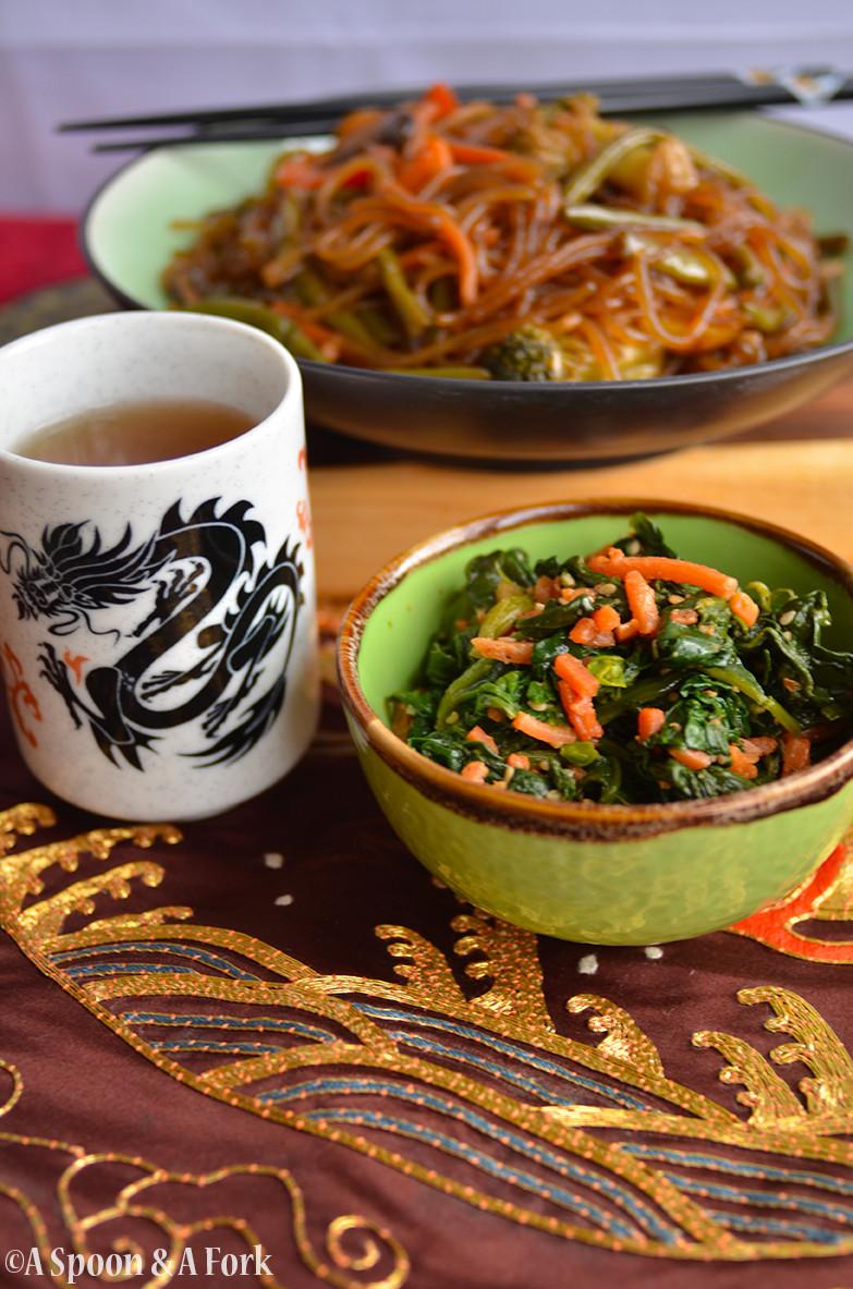 Korean Sesame Spinach Salad with Chop Chae and Barley Tea