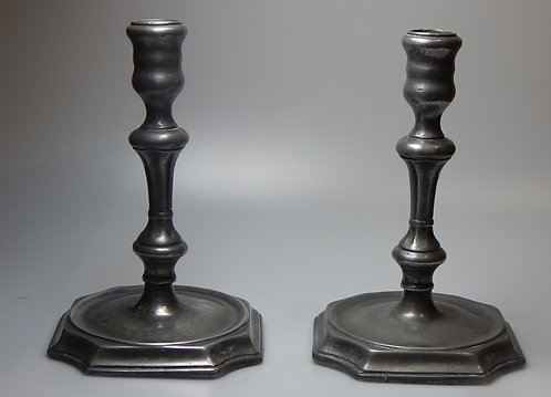 Pair of 18th Century Pewter Candlesticks/Tapers
