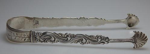 Solid Pair Cast Sugar Tongs. 1763. (PS/112)