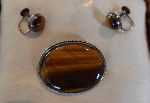 Silver Tiger's Eye Brooch & Earring Set (DKS/487)