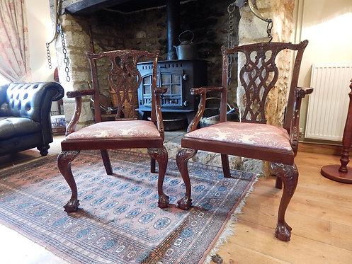 Stunning Pair of Mahogany Carver Chairs (CB/984)