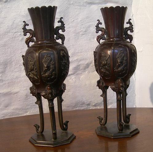 A Pair of Japanese Bronze Vases (DKS/400)