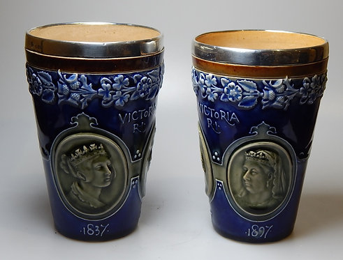 Pair Doulton Silver Top Jubilee Beakers(DKS/615)