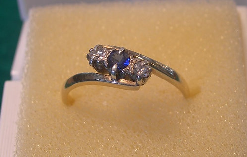Antique 18ct Diamond & Sapphire Ring (EB/106)