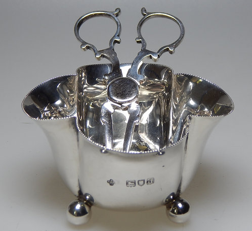 Delightful Victorian Sugar Bowl with Tea Tongs