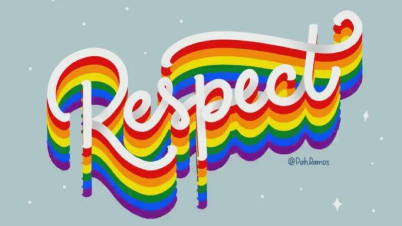 'Respect' written in rainbow colours