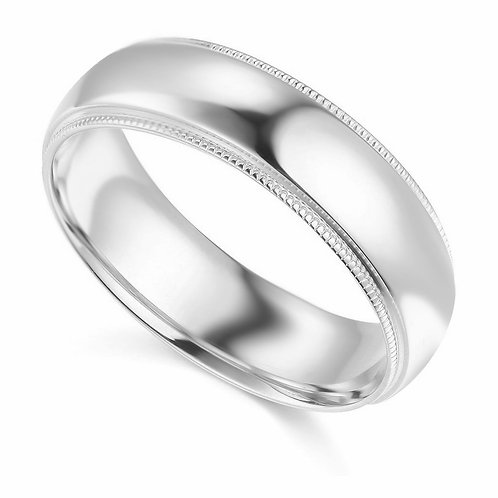 14k White Gold 6-mm Standard-fit Milgrain and polished Wedding Band