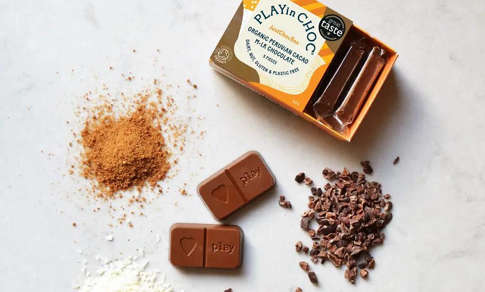 JustChoc Box Bio peruanischer Kakao M•lk Schokolade 50g