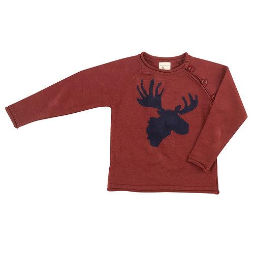 Raglan jumper,moose head - ink blue on spice