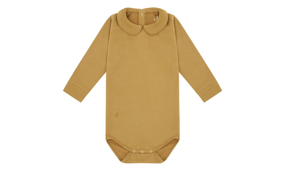 Long sleeve collard bodysuit, camel