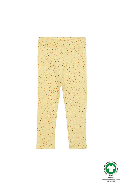 Baby Rib leggings, soft yellow with dots