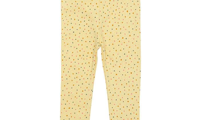 Baby Rib leggings, soft yellow with dots