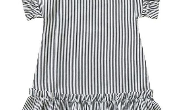 JOSEPHINE Dress – striped cotton – navy/white