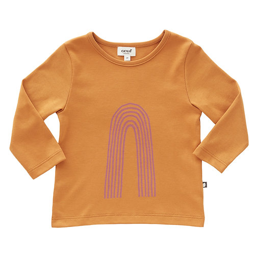 Tee Shirt-Ochre/Mauve Rainbow