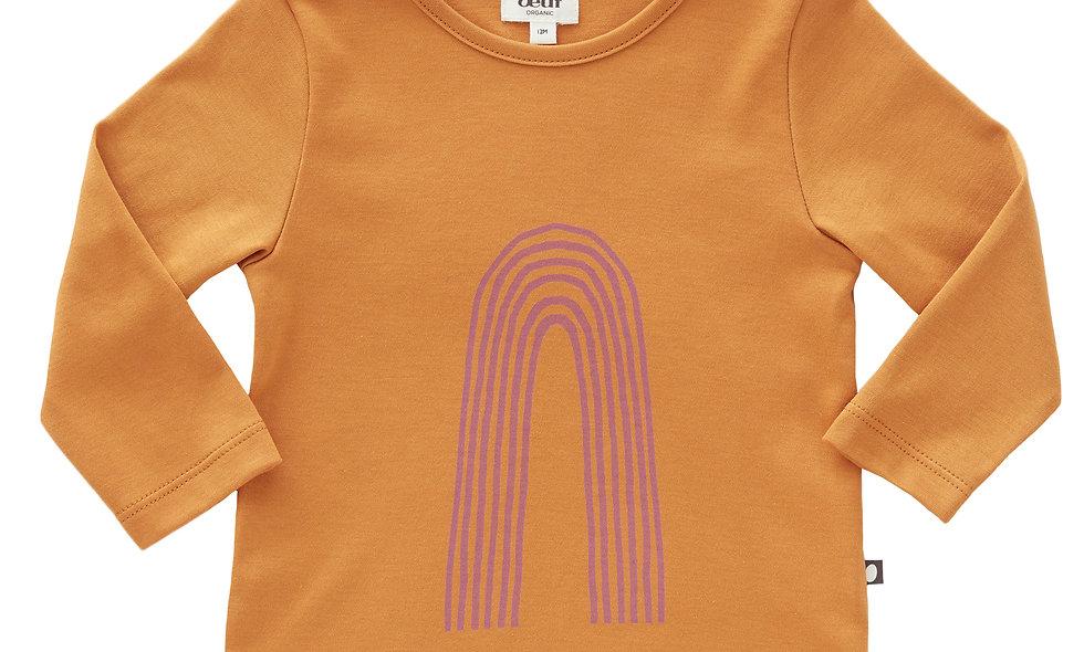 T-Shirt-Ocker / lila Regenbogen