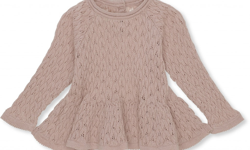 FORTUN FRILL WOOL BLOUSE POINTELLE DEUX