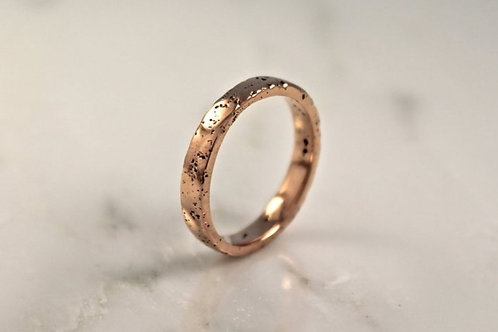 18ct Thin Rose Gold Sand Cast Textured, Flat Wedding Ring.