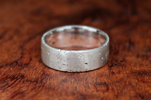 Brushed Sand Cast Silver Ring, Rustic Flat Band