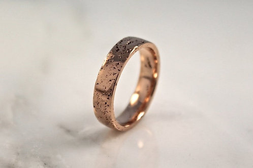 18ct Rose Gold Sand Cast Textured, Flat Wedding Ring.