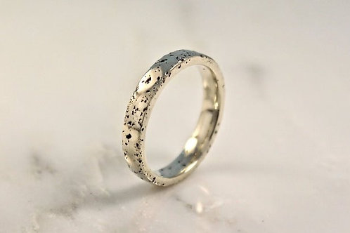 9ct Thin White Gold Sand Cast Textured, Flat Wedding Ring.