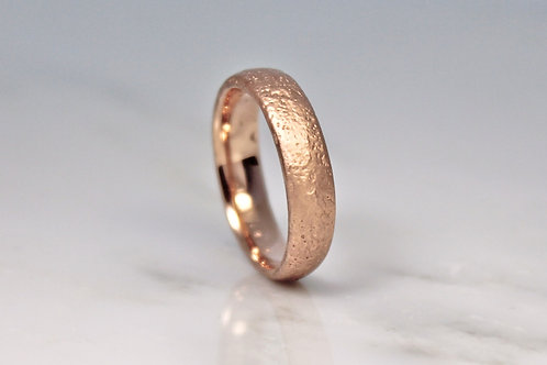 9ct Rose Sand Cast Ring 5mm.