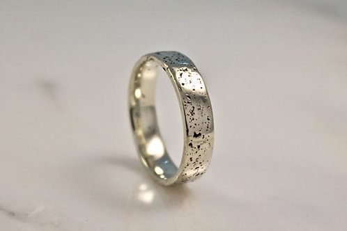 9ct White Gold Sand Cast, Textured Wedding Ring, Flat.